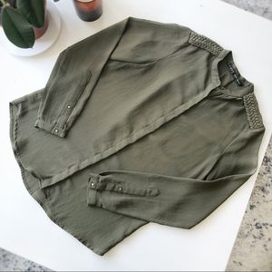 Zara Military Button-Down Blouse (Olive)